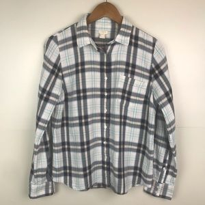J.CREW Plaid Button up Long Sleeve Blouse